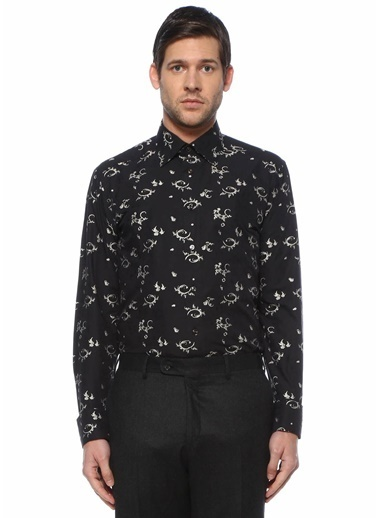 Eton Eton  Modern Yaka Mikro Desenli Smokin Gömleği 101612255 Siyah